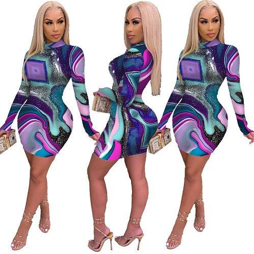 Women Mock Neck Long Sleeve Mini Dress Purple