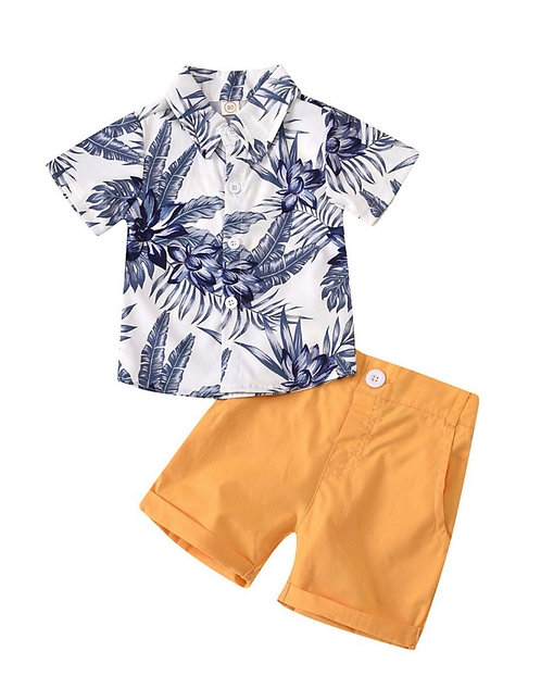 2 Pieces Kid Boy Tropical Print Shirt And Shorts Set