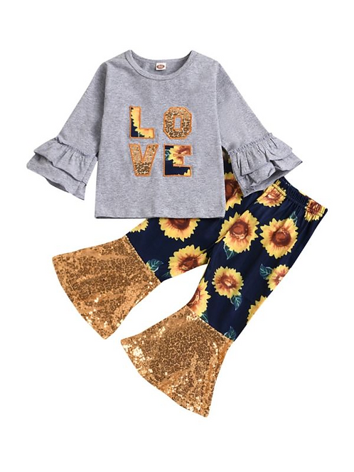2 Pieces Kid Girl Set Tiered Bell Sleeve Top & Sunflower Flared Pants