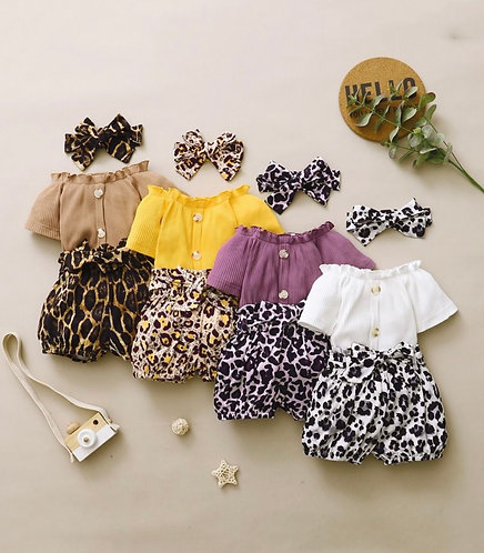 Three Pieces Infant Toddler Girl Ribbed Buttoned Top & Leopard Belted Shorts & H