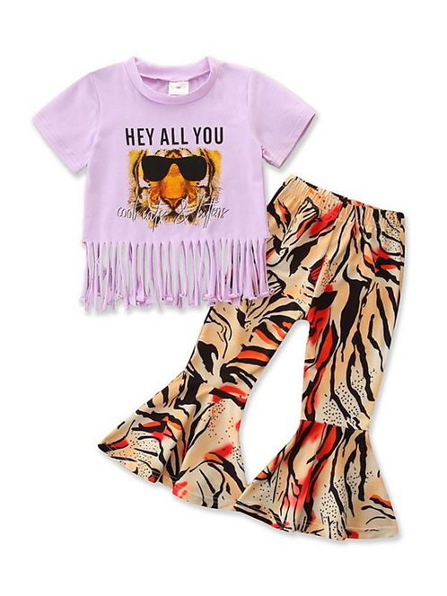 2 Pieces Baby Toddler Girl Letters Fringed Hem Top & Tiger Pattern Bell Pants Se