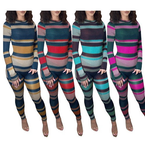 Fashion Colorblock Back Button Sweater Jumpsuits