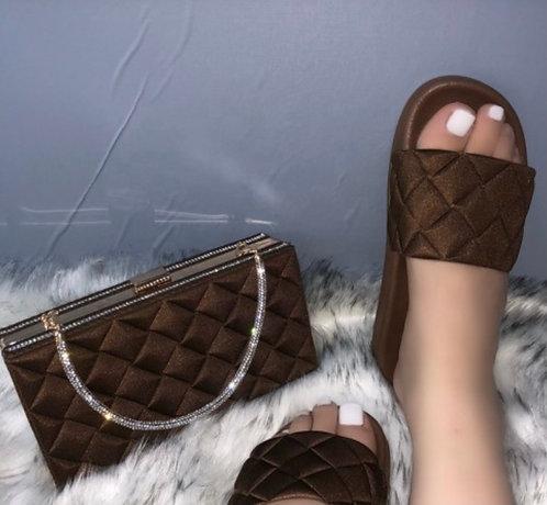 Clutch handbag & matching slippers
