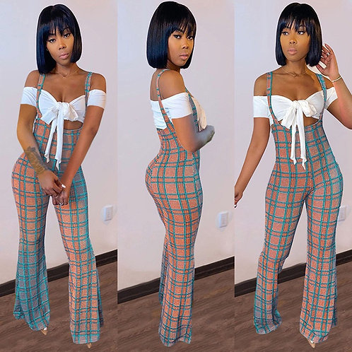 Sexy Short Sleeve Crop Top+Plaid Jumpsuit 2 Piece Sets