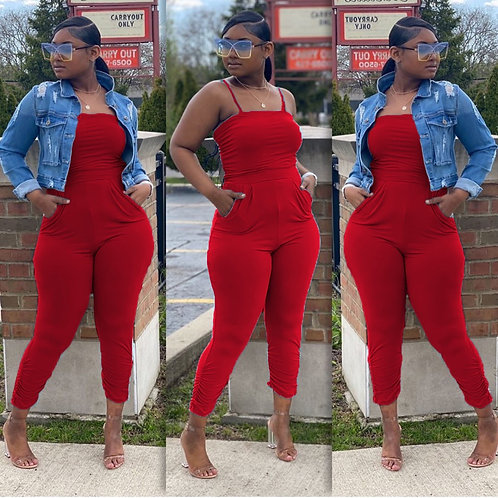 Plus Size Solid Sleeveless Strap One Piece Jumpsuits