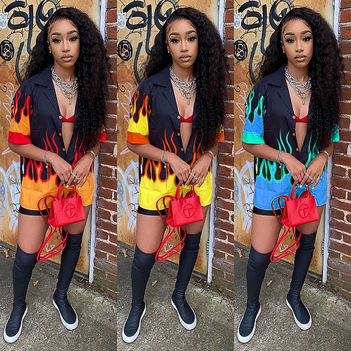 Flame Print Shirt Top And Shorts Two Piece Sets