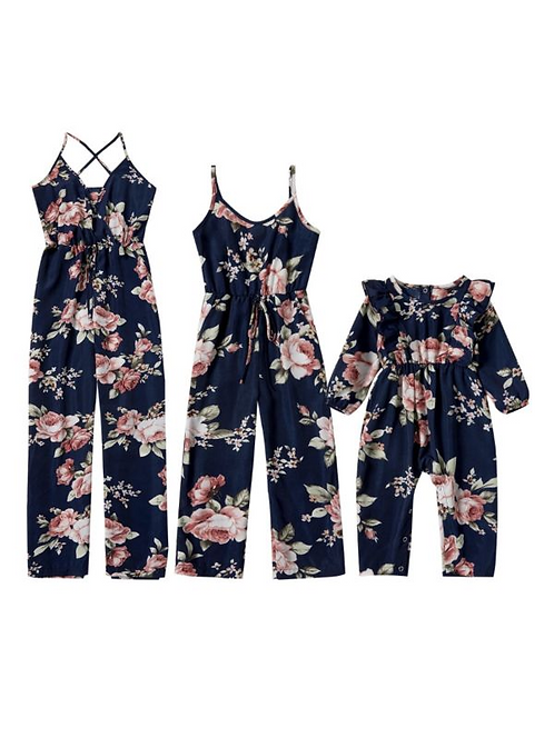 Mother And Daughter Floral Navy Jumpsuit Wholesale