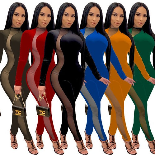 Women Long Sleeve Sexy Mesh Jumpsuits Black Yellow Red Green Army Green Blue S-4