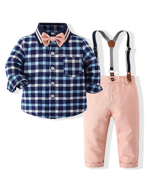 2 Pieces Baby Toddler Boy Plaid Set Bow Shirt And Suspender Pant