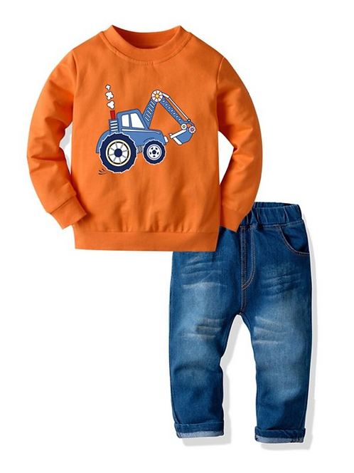 2 PCS Kid Boy Set Car Sweatshirt Matching Jeans