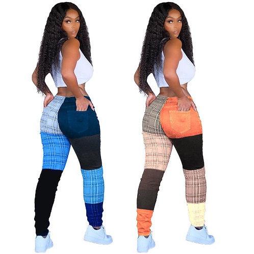 Women Casual Print Colorblock Long Pants