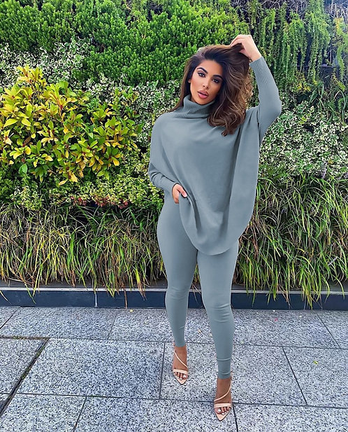 * Solid Batwing Sleeve Two Piece Pants Set*
