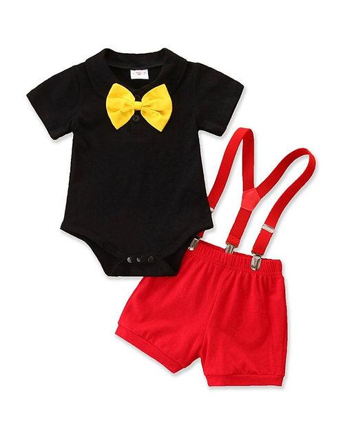 2 PCS Bow Decor Bodysuit Match Suspender Shorts Baby Boy Suits