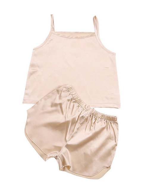 Two Pieces Kid Girl Ice Silk Pajamas Set Cami Top With Shorts