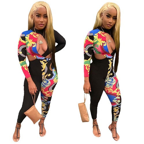 Vintage Printing Patchwork Hollow Out Jumpsuits