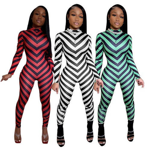 Women Fashhion Stripe Turtleneck Slim Jumpsuit