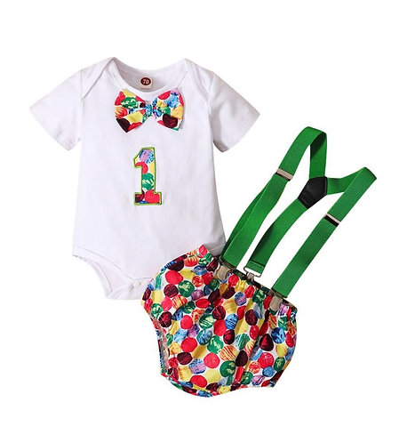 Two Pieces Baby Boy One Birthday Set Bodysuit And Overalls