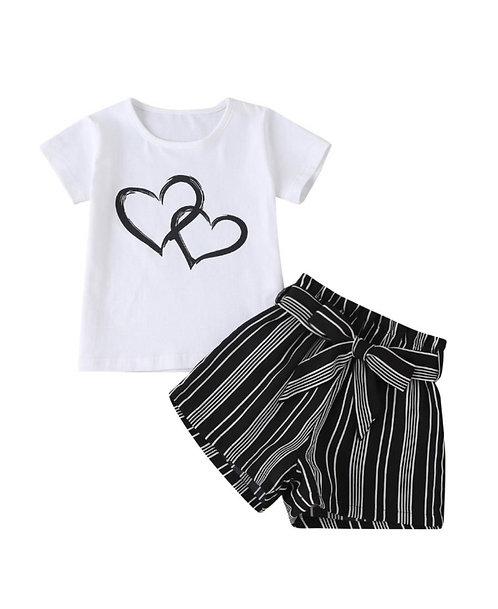2-Piece Love Heart Graphic Tee And Stripe Belted Shorts Girl Set
