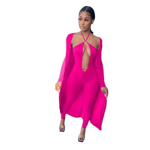 Women Fashion V-Neck Halter Solid Color Two Piece Set