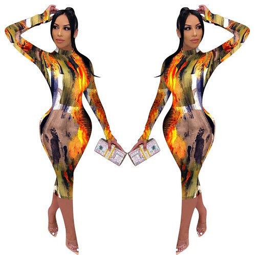 Women Pattern Printing Long Sleeve Fall Mide Dress Orange