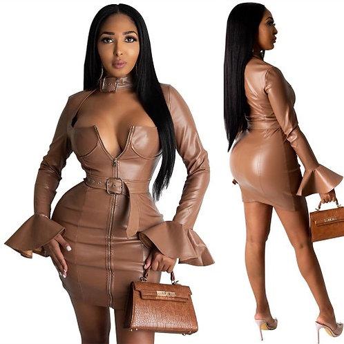 Women Sexy Slim Deep V-Neck Leather Dress