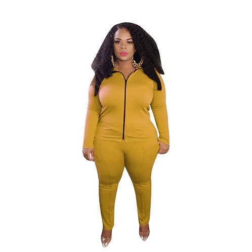 Solid Color Plus-Size Casual Zipper Two Piece Set