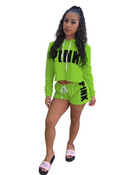 Women Street Style Long Sleeve Hoodies Tops Shorts Two Pieces Sets