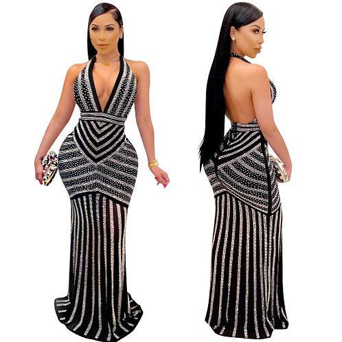 Diamond Women Open Back Black Evening Long Dress S-XXL