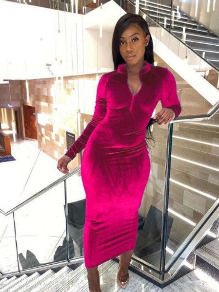 Women Solid Color Elegant Velvet Long Sleeve Zipper Neck Maxi Dress