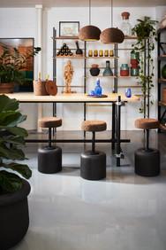 Wiid cork seat barstools, cork lighting
