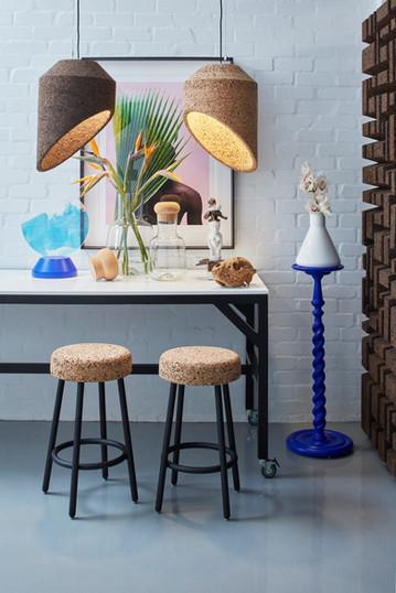 Wiid Barstools and cork pendant lighting