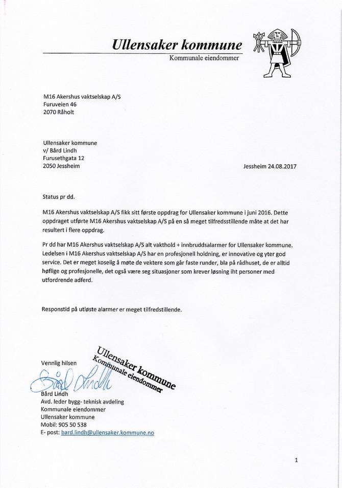 Fantastisk hyggelig omtale og ros fra vår kunde - Ullensaker kommune!