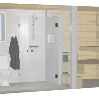 Kylpyhuone, kodinhoitotila, sauna. Espoo 2021.