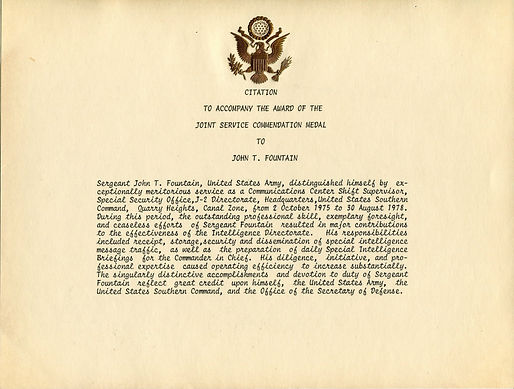 Citation Joint Services Commendation Medal