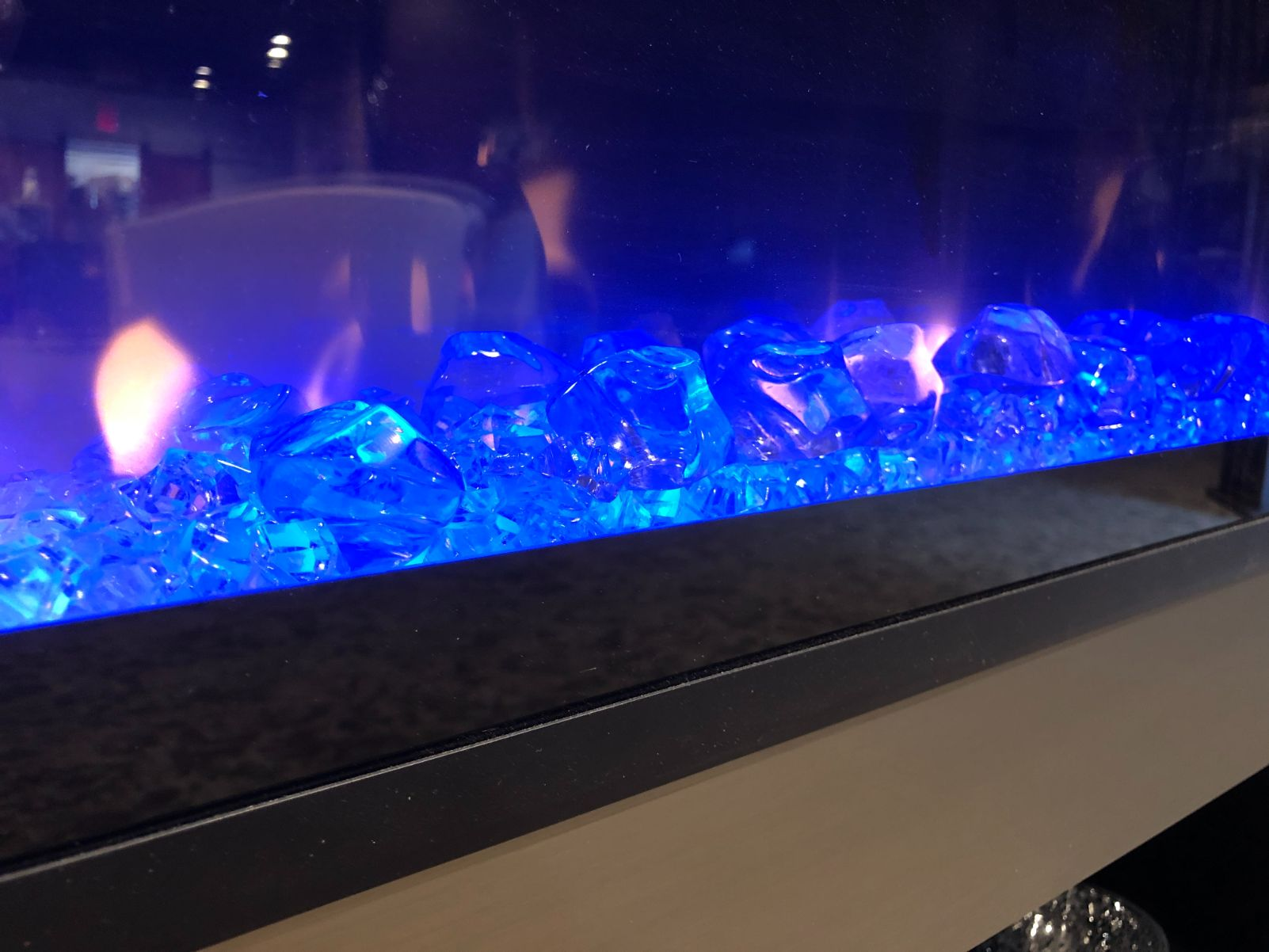 electric blue fireplace