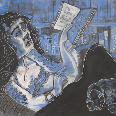 Blue Girl With Book