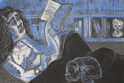 Blue Girl with Book-ORIGINAL ART