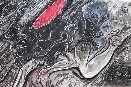 Swim Girl with Red Fish--ORIGINAL ART