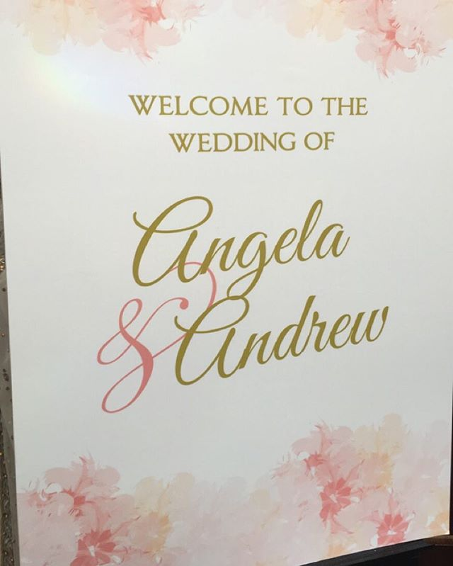 Welcome sign for today's wedding ceremony  Angela & Andrew. Our wonderful fusion couple