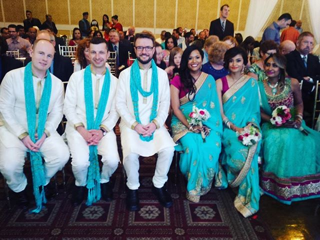 Fusion wedding & bridal party ready for the wedding festivities. This bridal party was so much fun