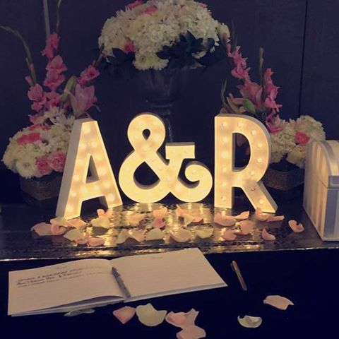 Amit & Rupals receiving table setup. A beautiful personal touch so guests could sign the guestbook