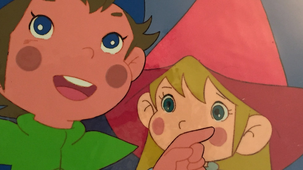 Original Anime Cel & Background from The Littl' Bits featuring Lillibit and Will