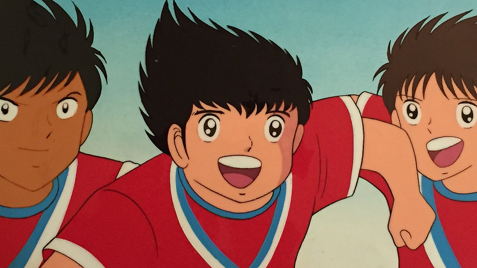 Original Anime Cel from Captain Tsubasa featuring Tsubasa Oozora, Nakazawa Sanae