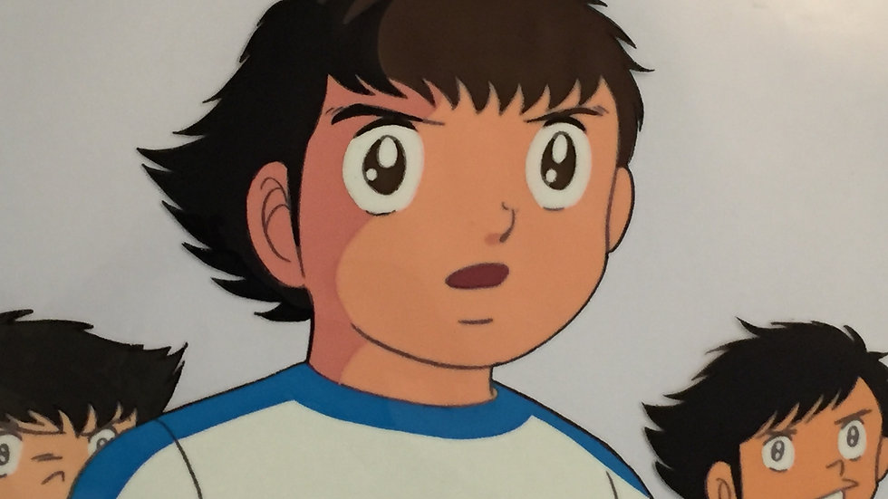 Original Anime Cel from Captain Tsubasa featuring Tsubasa Oozor, Hajime Taki and
