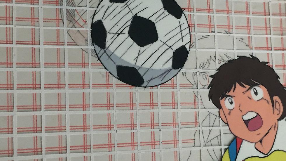 Original Anime Cel from Captain Tsubasa featuring Misugi Jun blocking a ball