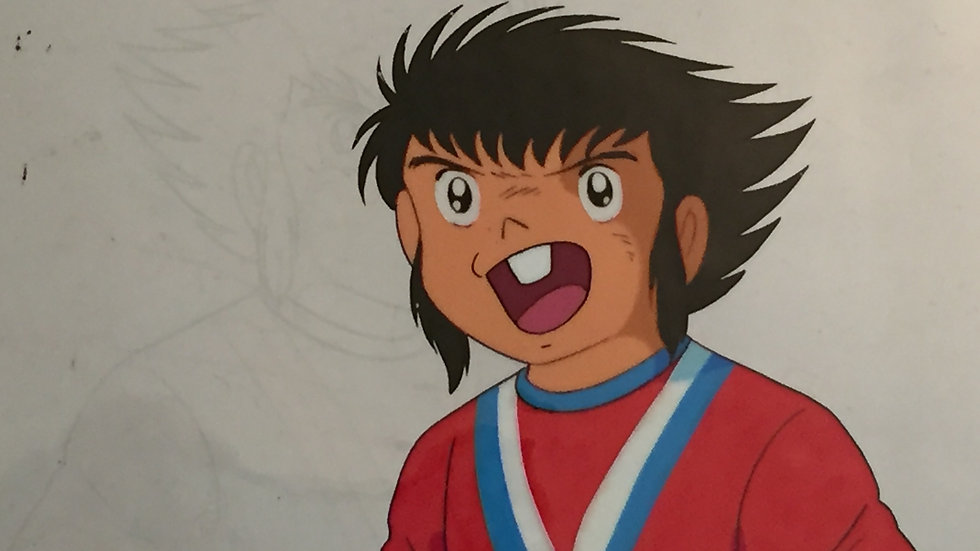Original Anime Cel from Captain Tsubasa featuring a Tachibana Twin