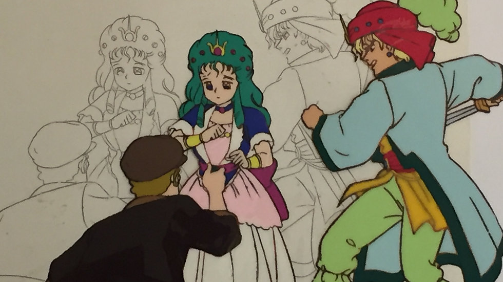 Original Anime Cel from Time Travel Tondekeman featuring Prince Dandarn saving P