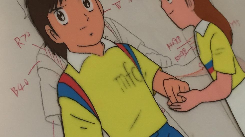 Original Anime Cel from Captain Tsubasa featuring Yayoi Aoba handing Misugi Jun
