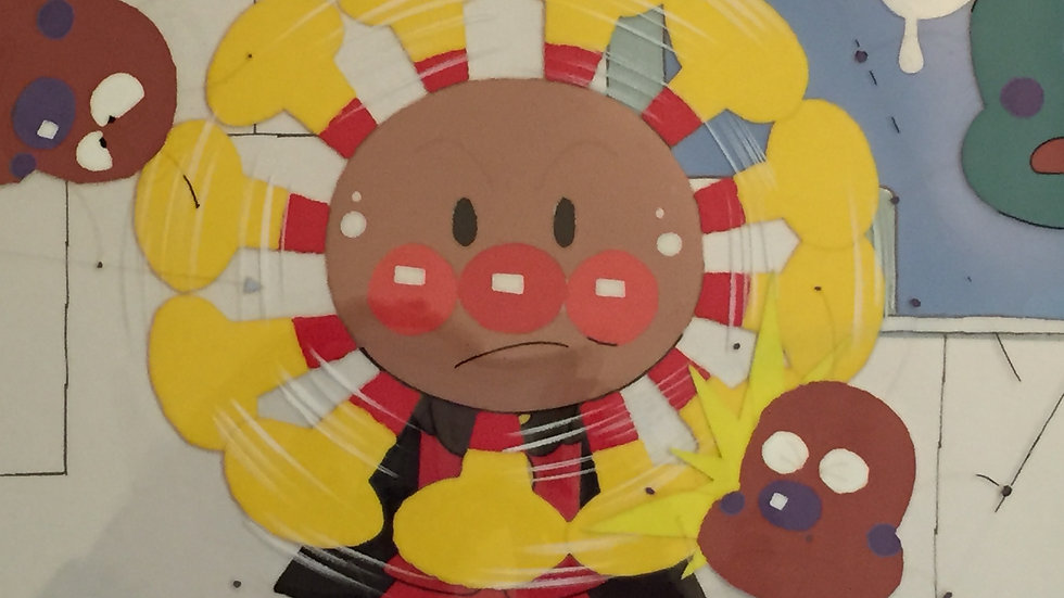 Original Anime Cel & Background from Anpanman featuring Anpanman in Action