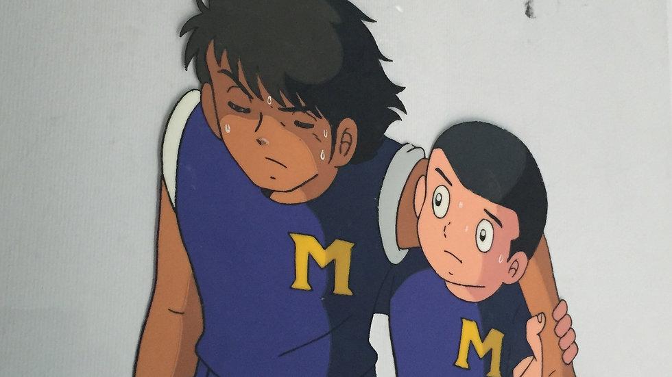 Original Anime Cel from Captain Tsubasa featuring Kojiro Hyuga & Takeshi Sawada